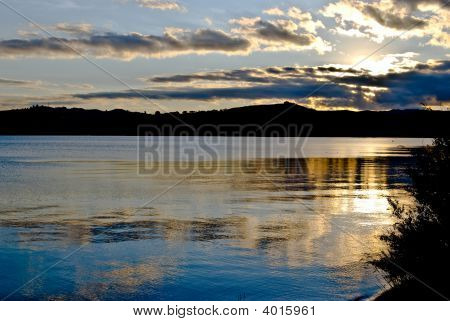Golden Sunset Over Lake Taupo