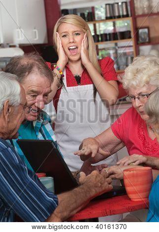 Screaming Watiress And Arguing Seniors
