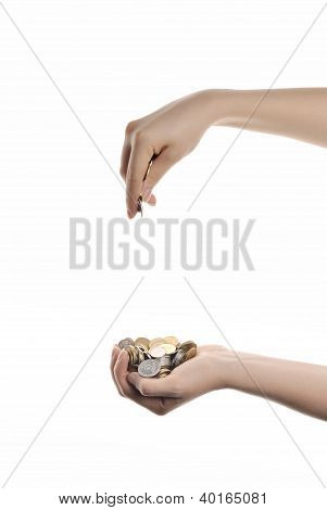 Woman`s Hands With Heap Of Money Isolated On White