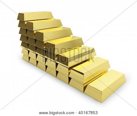 Staircase made of golden bars isolated on white background.