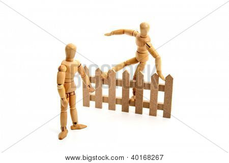 A dummy jumping the fence.