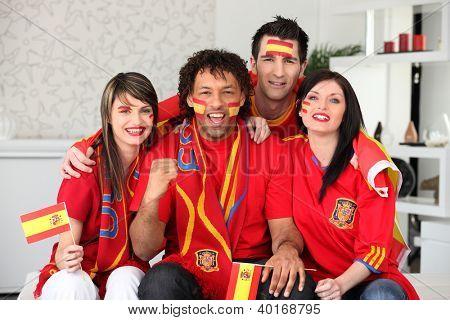 Four Spanish sports fans