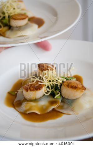 Gourmet Scallops And Ravioli With Sauce On A White Dish