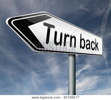 u turn back detour reverse track go back turning opposite direction road sign arrow