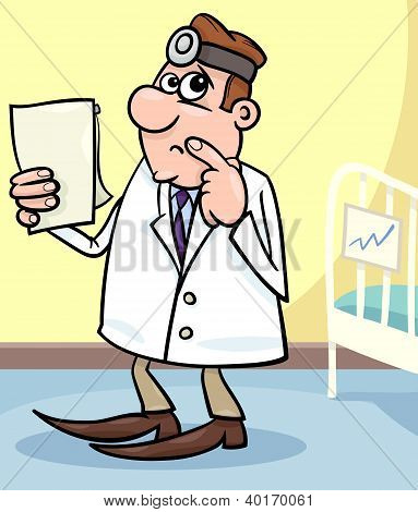 Cartoon Illustration Of Doctor In Hospital