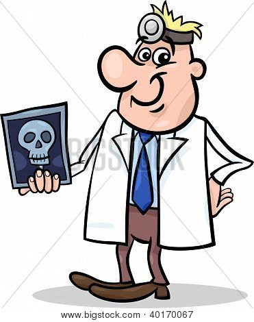 Cartoon Doctor Illustration With Xray