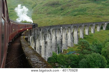Glenfinnan Viaduct And Steam Train