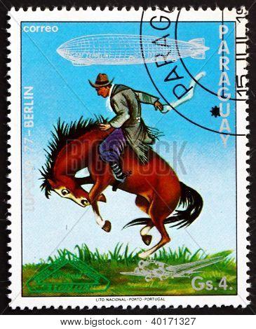 Postage stamp Paraguay 1977 Gaucho Breaking Bronco, Uruguay