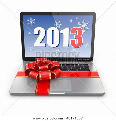 Gift. Presenting laptop on white background. 3d