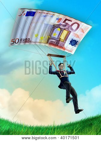Businessman using an euro bill as a parachute. Digital illustration.