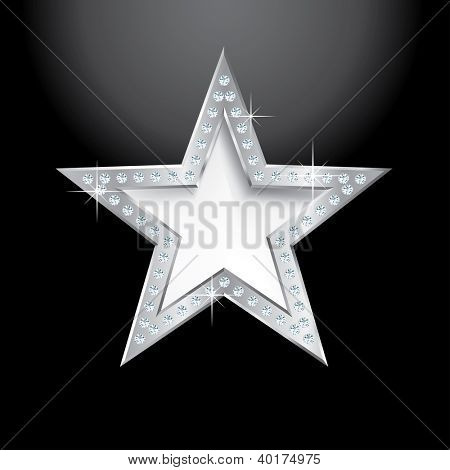 silver star on black with diamond screws, vector template for cosmetics, show business or something else
