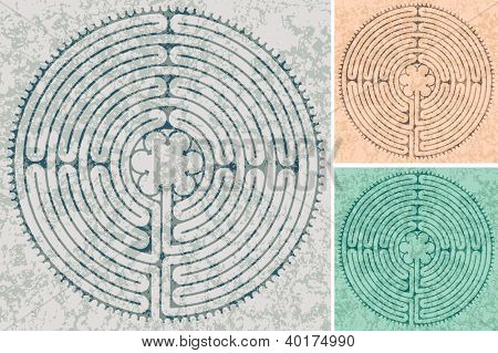 maze in Cathedral in Chartres in three color variations