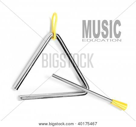An musical triangle on a white background. Musical education concept.
