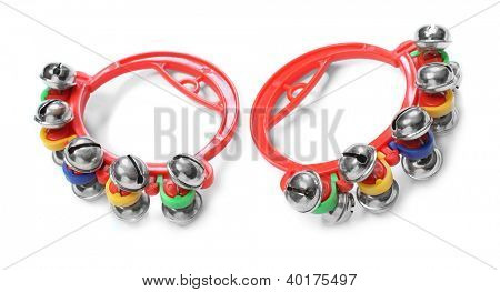 Colorful jingle bells on a white background.