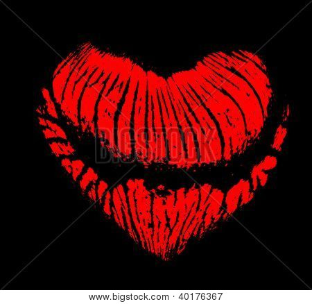 heart shape red lips imprint isolated on black background