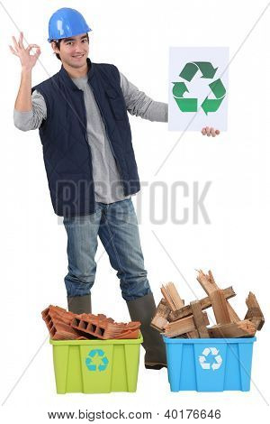 Construction worker recycling