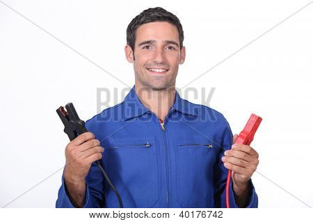 man car mechanic with alligator clips