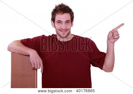 handyman with floorboards pointing to the left