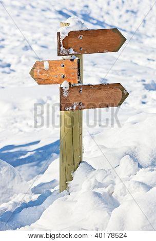 Orientação de madeira velho neve coberta (ponta de seta de índice)