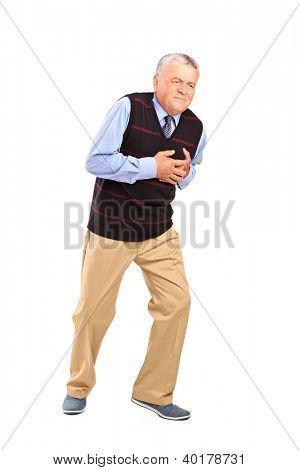 Full length portrait of a mature man having a heart attack isolated on white background