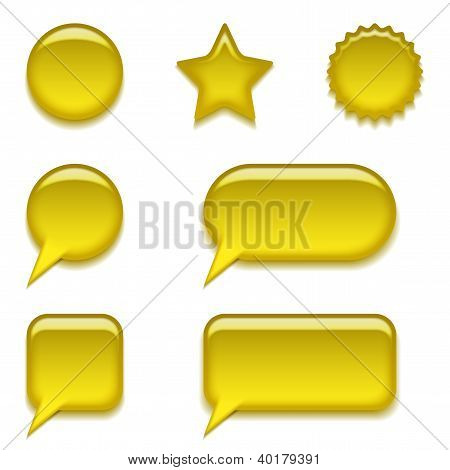 Yellow glass buttons, set