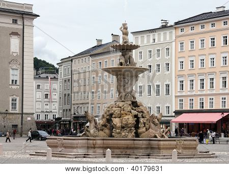 Fountain at Residenzplatz in Salzburg, Austria
