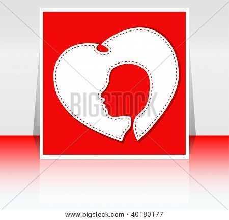 Women In Heart, Stylized Image Of Female Silhouette In White Heart