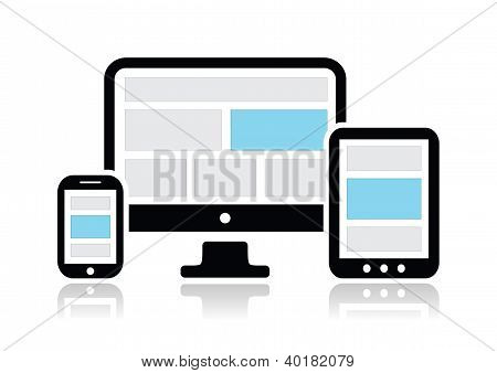 Responsive design for web- computer screen, smartphone, tablet icons set