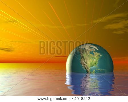 3D Concept Earth Globe Ocean Water And Red Sunset Sky