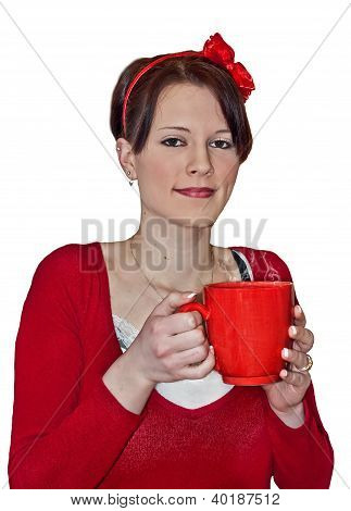 Young Pretty Woman With Red Coffee Mug