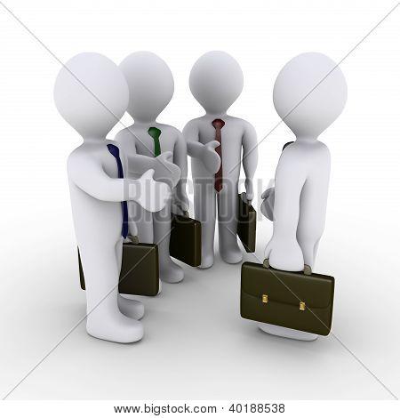 Três empresários oferecem Handshake