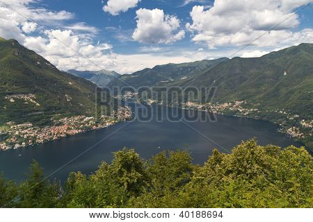Lake Como in Italy with the village of Moltrasio
