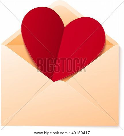 Vector simple envelope with red paper heart