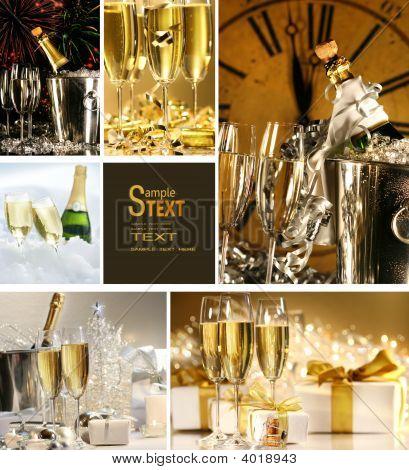 Collage de imágenes de Champagne para año nuevo