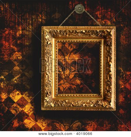 Grungy Tattered Wallpaper With Empty Frame