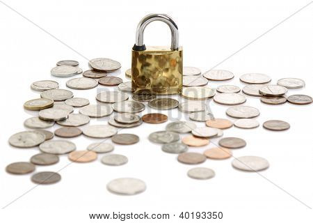 Padlock on coin pile as a symbol of financial protection