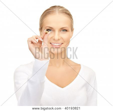 bright picture of confident businesswoman with dart..