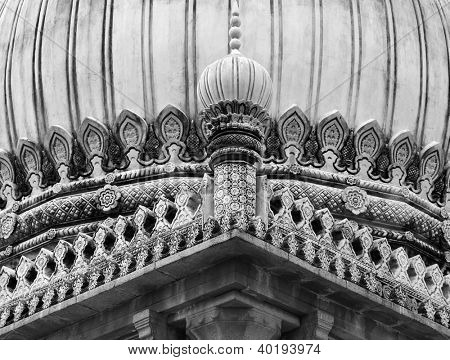 Qutb Shahi tombs architecture in black and white