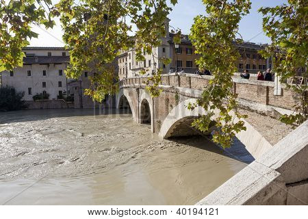 Pons Fabricius And A Flooded Tiber, Rome, Italy