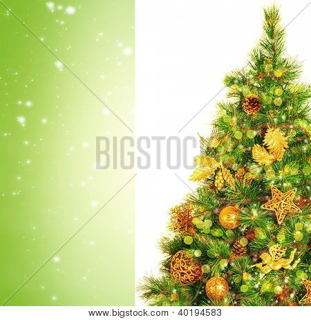 Image of beautiful Christmas tree isolated on green background, festive spruce adorned with luxury golden ornament, copy space, Christmastime decoration, New Year eve, Xmas holiday greeting card