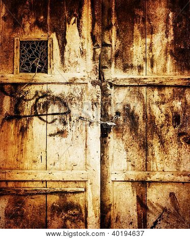 Image of old wooden dirty door background, retro style photo, grungy entrance into house, locked door, aged scratched texture, building concept, vintage wallpaper