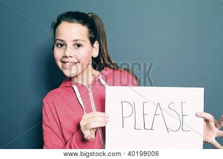 Cute Little Girl Saying Please