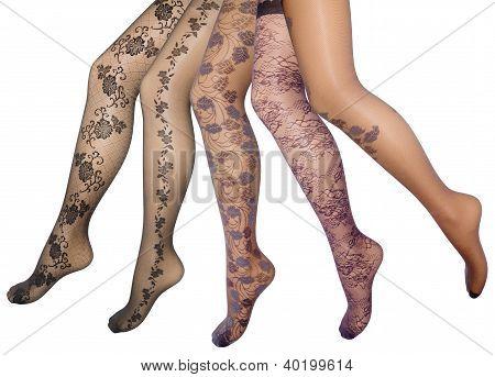 Pernas femininas em meia-calça