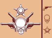 stock photo of sherif  - A vector set of a wild west themed vector objects: skull, revolver & sherif badge in vintage style. This vector is very good for design that needs wild west or skull element in vintage style.