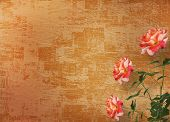 stock photo of san valentine  - Grunge background for congratulation with beautiful rose - JPG