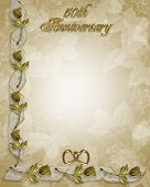 pic of 50th  - 3D Illustration for 50th Wedding anniversary invitation border frame or Background with copy space - JPG