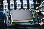 stock photo of processor socket  - the processor socket on the computer motherboard - JPG
