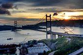 pic of tsing ma bridge  - Tsing Ma Bridge sunset - JPG