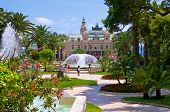 stock photo of fountain grass  - Garden and fountains near the Casino in Monaco - JPG