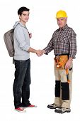 image of school-leaver  - Experienced tradesman meeting new apprentice - JPG